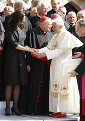 Pope Benedict XVI arrives for a photo with dignatories in the cloister in the Augustinian Monestry in Erfurt