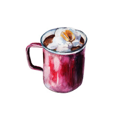 The iron enameled red mug of coffee with white marshmallows. Isolated object on white background, watercolor illustration in hand-drawn style.