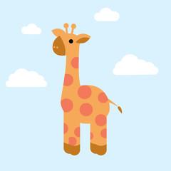 Cute tou giraffe with white clouds
