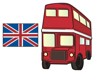 London, England, UK, Britain, travel, symbol, cartoon, illustration, city, Europe, Pound, money, two, flag, red, bus
