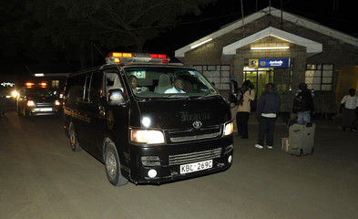 Vehicle carrying the bodies of passengers who were killed during an ambush on a Nairobi-bound bus outside Mandera town, leaves the Wilson airport in the capital Nairobi