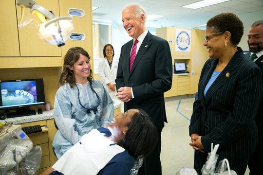 Vice President Joe Biden shares a joke as he visits the dental hygiene program at West Los Angeles College in Culver City