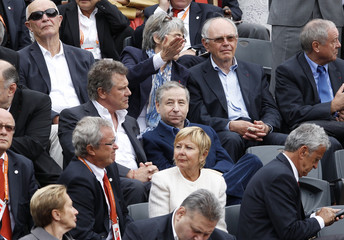 FIA President Jean Todt watches  the men's singles final match during the French Open tennis tournament in Paris
