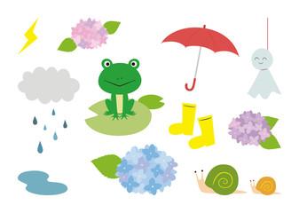 梅雨 イラスト セット