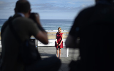 "Sarah Gadon poses during a photocall promoting ""Enemy"" during the San Sebastian Film Festival"