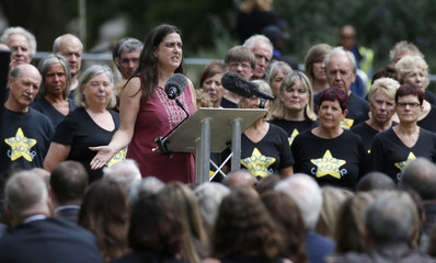 Esther Hyman whose sister was killed in the July 7, 2005 London bombings speaks at a memorial event in Hyde Park