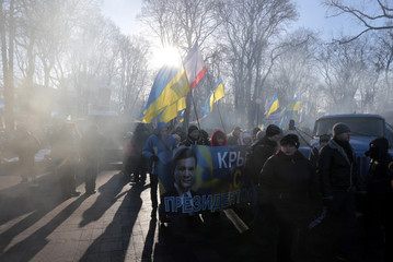 Supporters of Ukrainian President Yanukovich wave flags and banners during a rally near the Parliament in Kiev