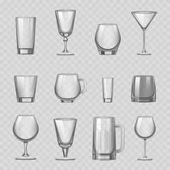 Transparent empty glasses and stemware drinks tumbler mug cups reservoir vessel realistic vector illustration