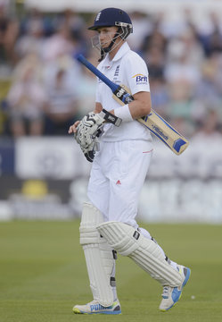 England's Root leaves the field after being dismissed during the fourth Ashes test cricket match against Australia at the Riverside ground in Chester-le-Street
