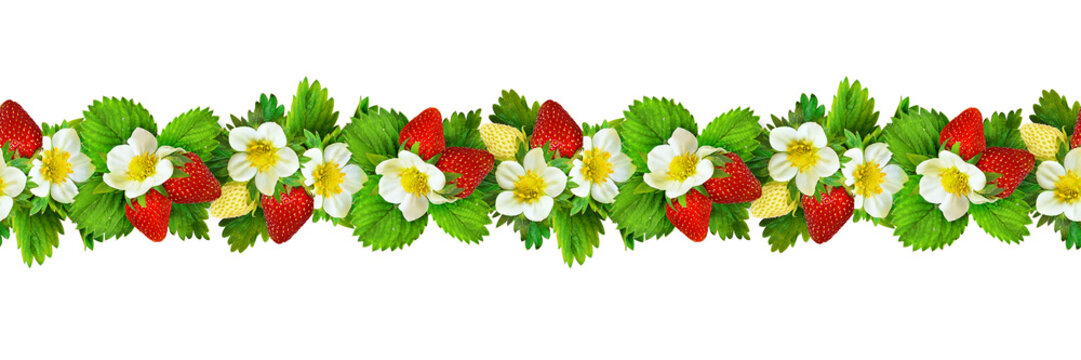 Seamless pattern with strawbwrries flowers, berries and leaves