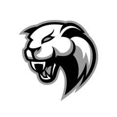 Furious panther sport vector logo concept isolated on white background. Modern professional mascot team badge design.