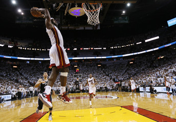 Miami's James slam dunks against the San Antonio Spurs during Game 2 of the NBA Finals in Miami