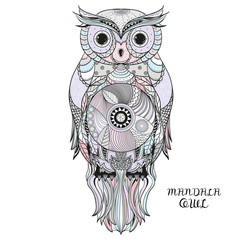 Owl. Design Zentangle. Hand drawn owl with abstract patterns on isolation background. Design for spiritual relaxation for adults. Zen art. Graphic design.