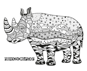 Rhinoceros. Design Zentangle. Hand drawn rhinoceros with abstract patterns on isolation background. Design for spiritual relaxation for adults.  Black and white illustration for coloring. Zen art