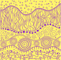 East colored background with bright colors. Abstract eastern pattern. Hand drawn texture with abstract patterns on isolation background. Line art creation.