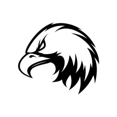 Furious eagle head sport vector logo concept isolated on white background. Modern angry predator professional team badge design.