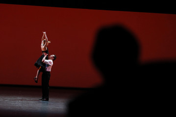 """Dancers perform """"Tango-Suite"""" during the award ceremony at the Bolshoi Theatre in Moscow"""