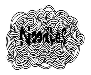 Hand drawn doodle noodles