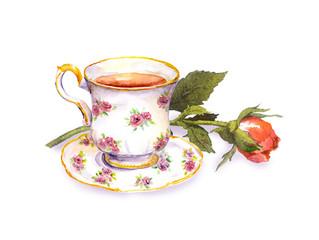Tea cup with tea, rose flower. Watercolor