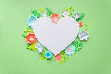 heart frame with color paper flower