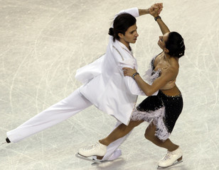 Zadorozhniuk and Verbillo of Ukraine perform during the Ice Dance Compulsory Dance at the European Figure Skating Championships in Tallinn.