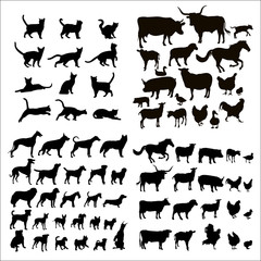 Collection of silhouettes of cats, dogs and farm animals