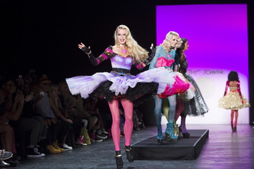 A model presents a creation from the Betsey Johnson Spring/Summer 2016 collection during New York Fashion Week in New York