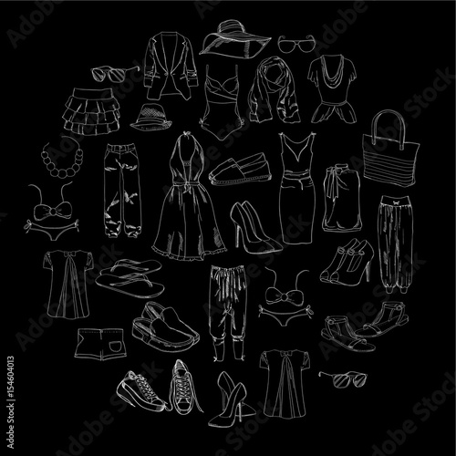 9c71632b6665 Summer travel packing for vacation. Woman clothing set. Vector hand drawn  isolated objects. Black and white fashion collection for girl.