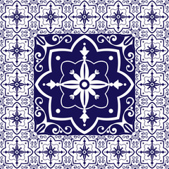 Tiles floor - vintage pattern vector with ceramic cement tiles. Big tile in center is framed in small. Background with portuguese azulejo, mexican talavera, moroccan, spanish, delft dutch motifs.