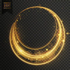 circular transparent light effect with sparkles