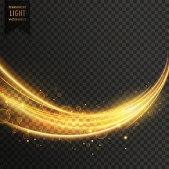 abstract golden transparent light wavy streak with sparkle