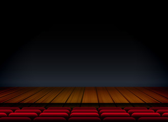 theater or stage template for show premier with seat and wooden floor