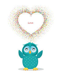 A happy owl throws a multicolored confetti in the shape of a hearts