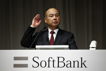 SoftBank's Chief Executive Masayoshi Son speaks during news conference in Tokyo