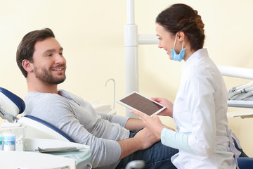 Man visiting female dentist at clinic