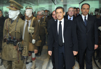 France's President Sarkozy, President of the Ile-de-France Region Huchon and Mayor of Meaux Cope inaugurate the WWI museum in Meaux as part ceremonies marking the anniversary of the end of the first World War
