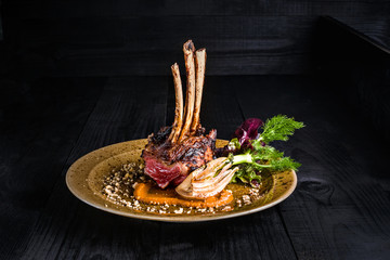Photo Stands Ready meals Gourmet Main Entree Course Grilled rack of lamb