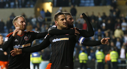 Sheffield United's Billy Sharp celebrates scoring their first goal