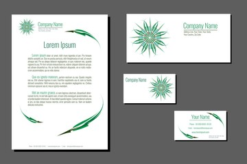 Professional corporate identity kit. Business Cards, Envelope and Letter Head Designs. Organic style. Vector template.