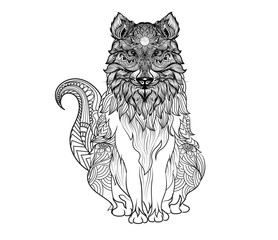 fox hand drawn black and whtie