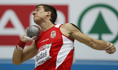 Dudas of Serbia competes in the Shot Put event of the Heptathlon Men competition at the European Athletics Indoor Championships in Gothenburg
