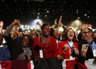 Supporters of U.S. President Obama cheer during his election night rally in Chicago