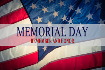 Text Memorial Day and Honor on flowing American flag background. Concept of Memorial day or Veteran's day in America. Fotomurales