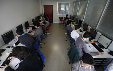 Students attend a computer class at Fatih College in Istanbul