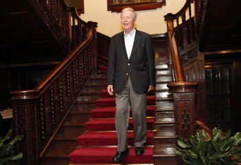 Nobel Medicine laureate, Luxembourg-born Jules Hoffmann, walks down the stairs at a hotel in Shanghai