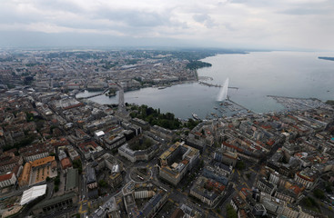 The Jet d'Eau and the Lake Leman are pictured from the air in the city of Geneva