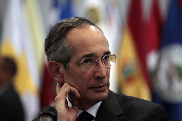 Guatemala's President Alvaro Colom attends the closing ceremony for the Central America Security Conference in Guatemala City