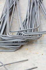 Soft focused picture of Re-bar steel bending or deformed bar for constructure building