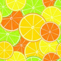 Citrus seamless pattern. Fresh juicy orange, lemon, grapefruit and lime slices. Summer background.