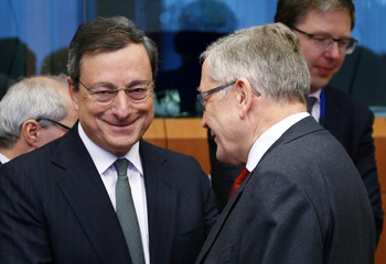 ECB President Draghi and European Stability Mechanism Managing Director Regling attend an eurozone finance ministers meeting in Brussels
